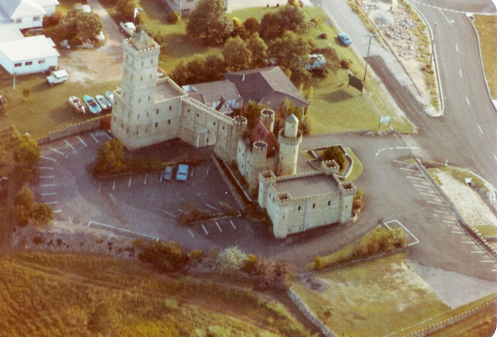 Aerial view of the Castle before the construction of the castle courtyard and entrance gates