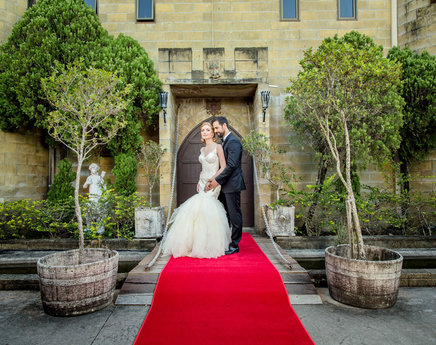Beautiful Red Carpet Wedding on the Castle Drawbridge