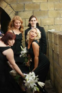 bridal party photo fun
